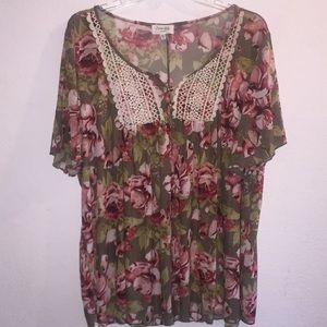 Siren Lilly Floral & Lace Sheer Blouse Size 3X